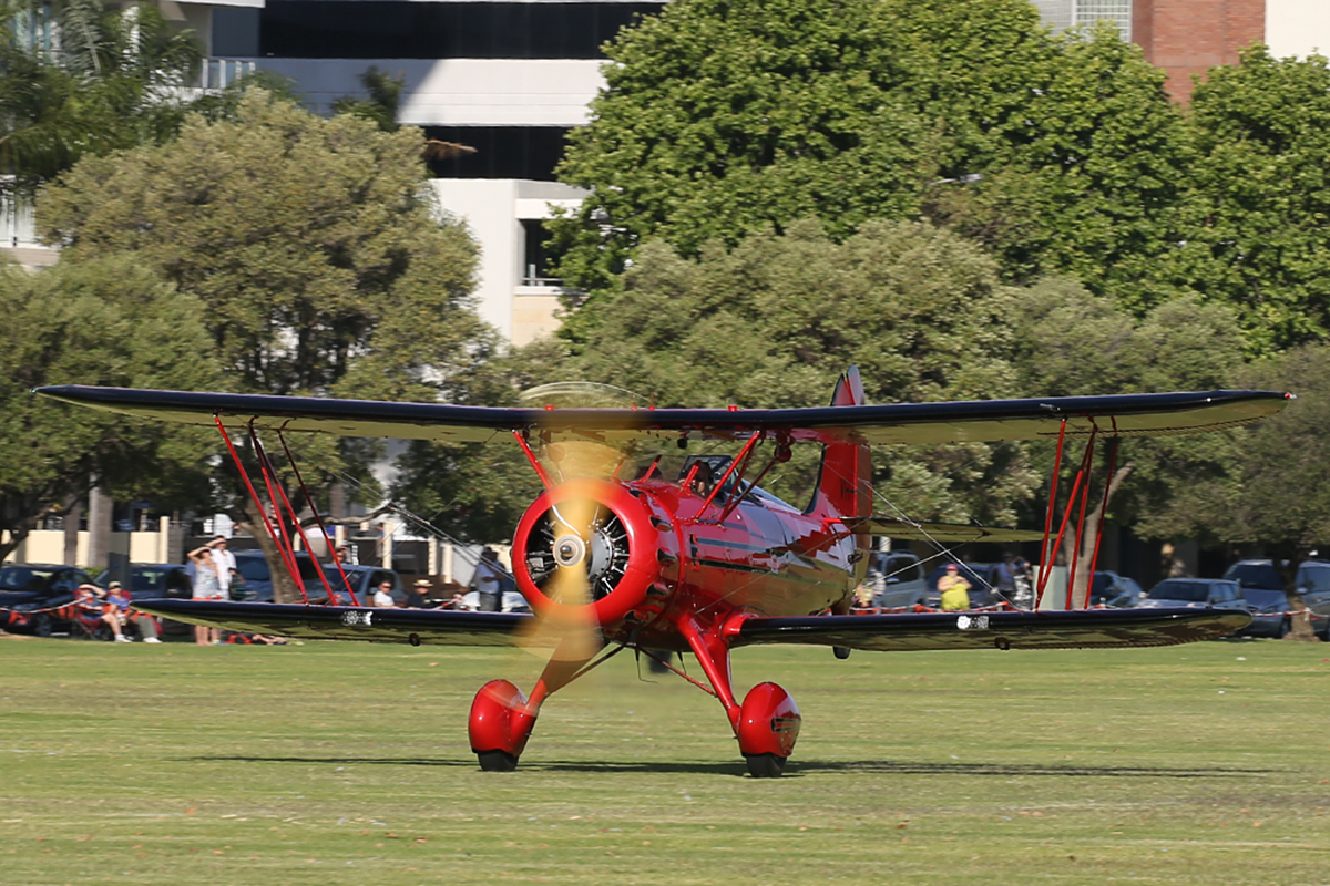 VH-MLX Waco YMF-5C Classic (MSN F5C-072) of West Australian Skydiving Academy at Langley Park – 17 October 2015.