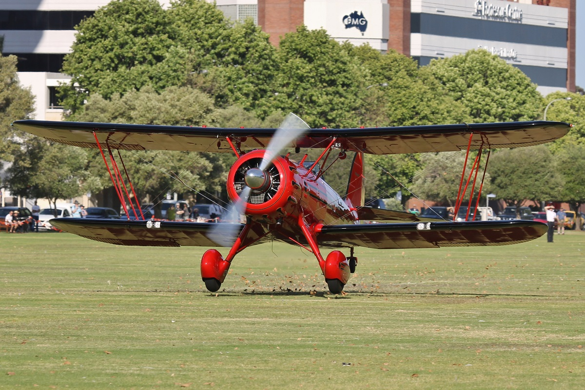VH-YRB WACO Aircraft YMF-F5C (MSN F5C105) owned by Archibald Dudgeon at Langley Park – 17 October 2015.