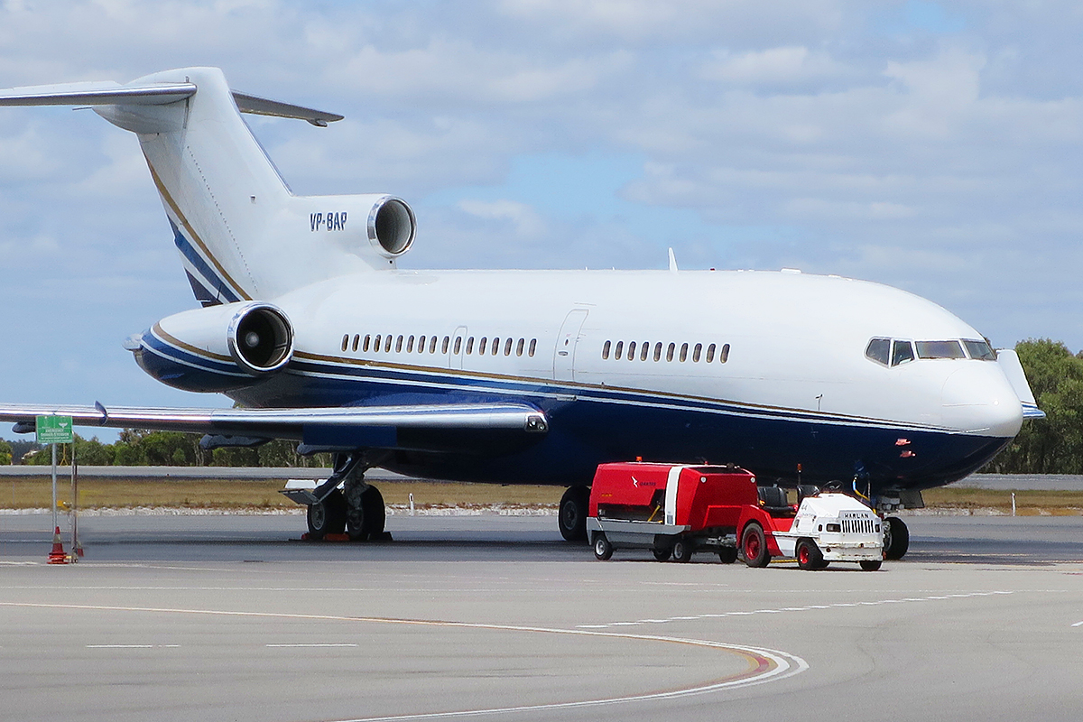 VP-BAP Boeing 727-21 (MSN 19260) of Malibu Consulting Group at Perth Airport – 19 October 2015.