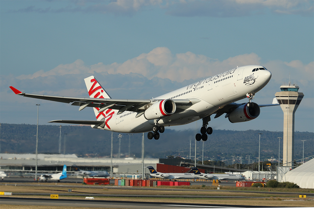 VH-XFH Airbus A330-243 (MSN 1452) of Virgin Australia at Perth Airport – 25 Oct 2015.