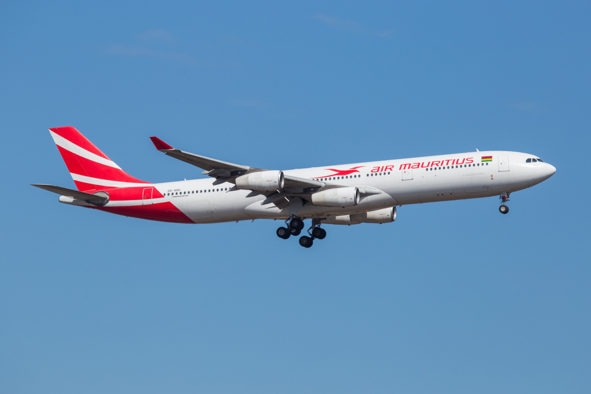 3B-NBD Airbus A340-313X (MSN 194) of Air Mauritius, named 'Parakeet', at Perth Airport - Wed 28 October 2015. Flight MK440 from Mauritius was operated by an A340 instead of the usual A330-200 today. Seen here on final approach to runway 03 at 9:06am. A340s were used on the Mauritius/Perth services prior to the introduction of the A330s. Photo © Marcus Graff