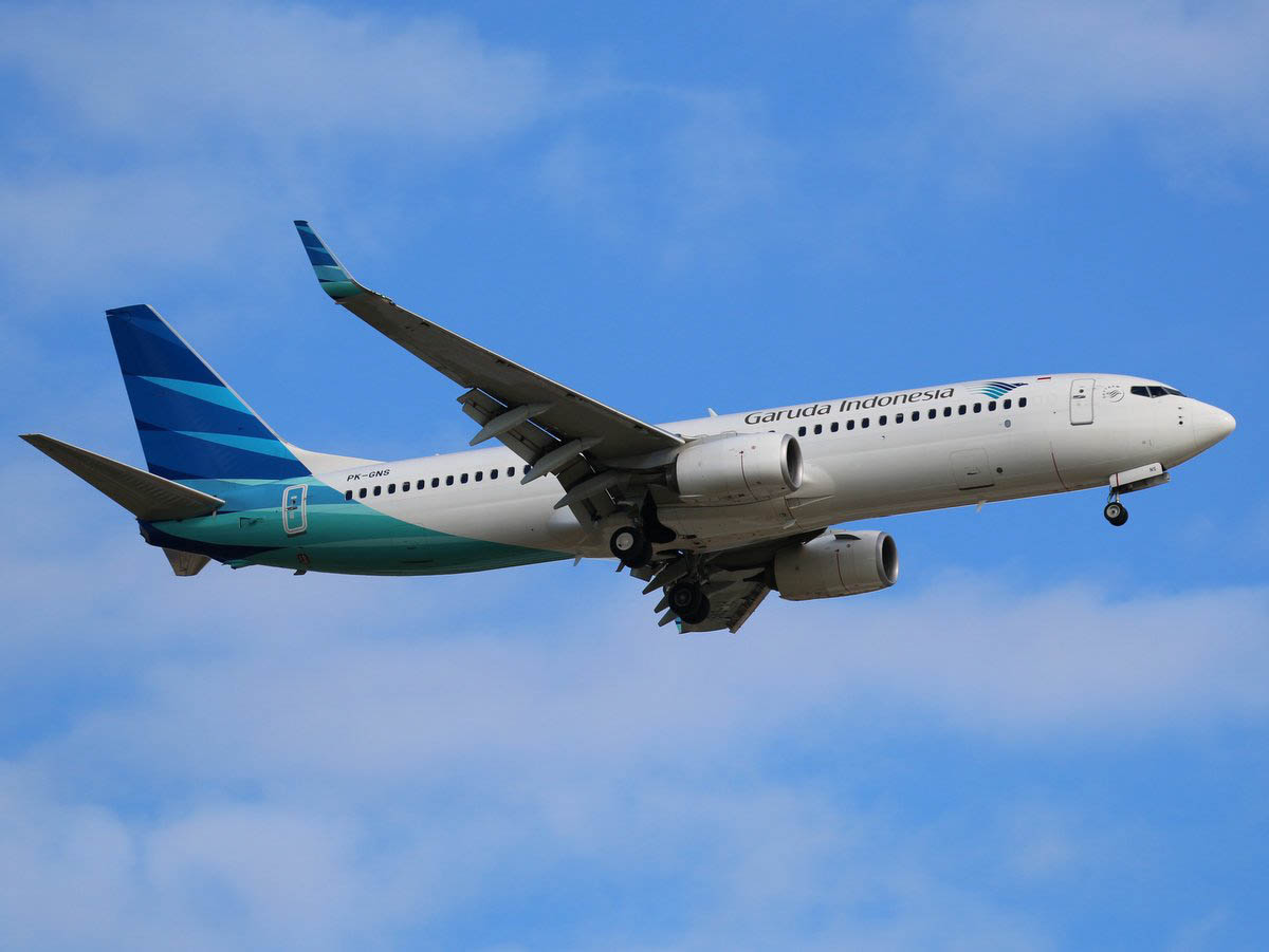 PK-GNS Boeing 737-8U3 (MSN 41607/5385) of Garuda, at Perth Airport - Sat 31 October 2015. First visit to Perth. Flight GA724 from Jakarta, on final approach to runway 24 at 4:07pm. Photo © Jimmy Leng