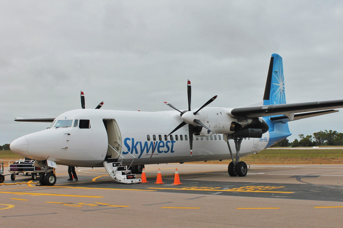 VH-FSL Fokker 50 (MSN 20249) of Virgin Australia Regional Airlines, still in Skywest Airlines livery, at Esperance Airport - 20 October 2015. Virgin will retire all eight of their Fokker 50s by early 2016 and have already started withdrawing them from service. Photo © Jonathan Williams