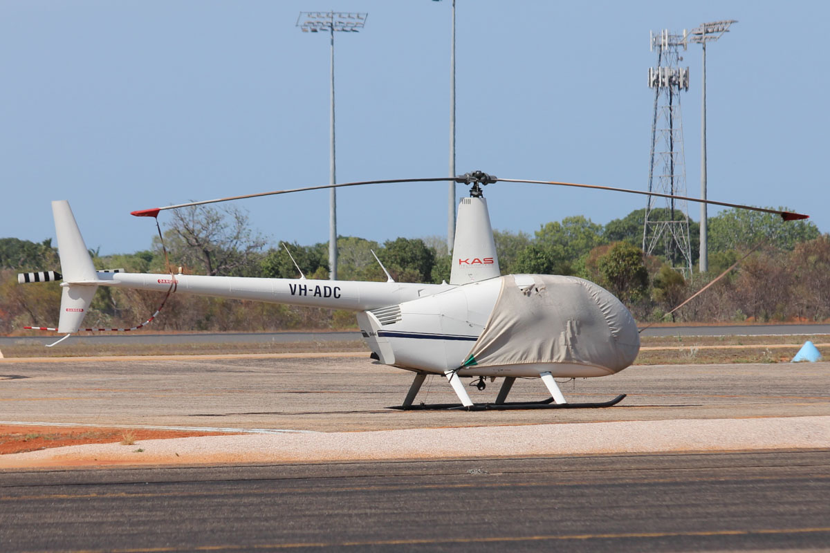 VH-ADC Robinson R44 Raven I (MSN 1977) owned by KAS Helicopters (Ballina Corporation Pty Ltd) at Broome Airport - 25 October 2015. Built in 2009, ex N4195N. Photo © Jonathan Williams