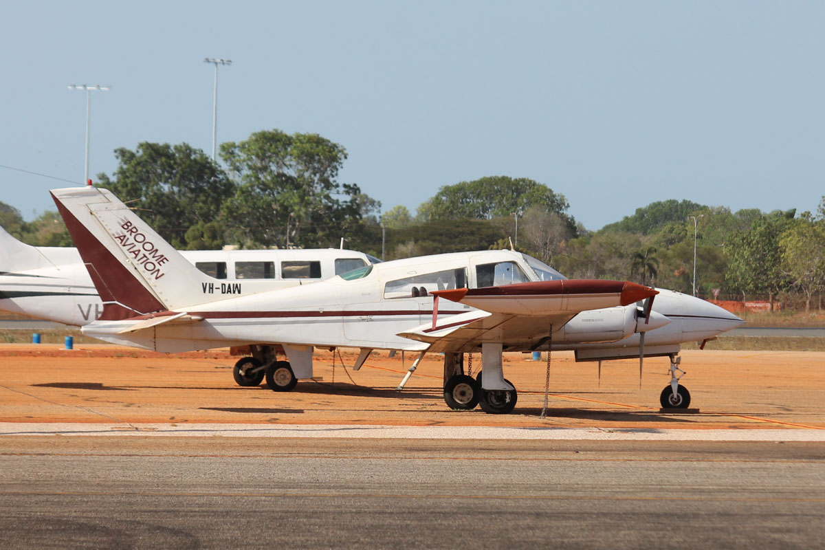 VH-DAW Cessna 310R II (MSN 310R0148) owned by Broome Aviation at Broome Airport - 25 October 2015. Built in 1975, ex N5028J. Photo © Jonathan Williams