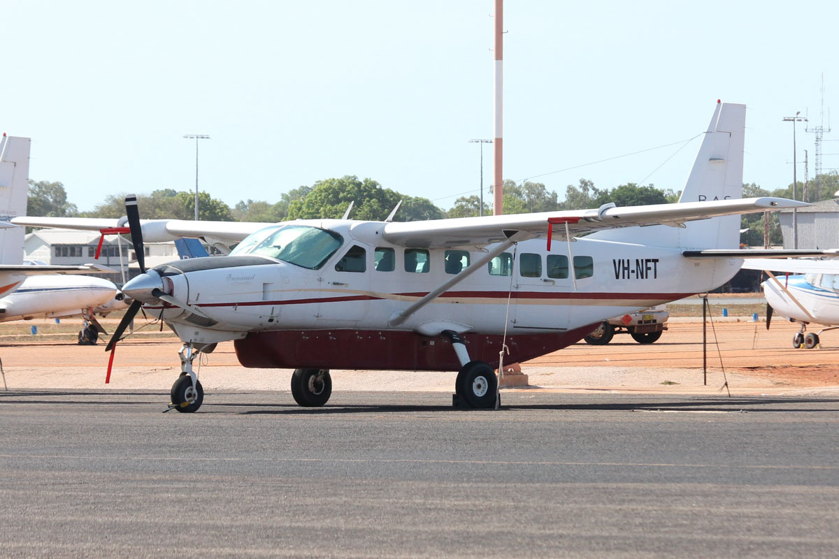 VH-NFT Cessna 208B Grand Caravan (MSN 208B1057) owned by Broome Air Services (BAS), at Broome Airport - 25 October 2015. Built in 2004, ex N990AM, PK-RJS, RP-C2801, N4088Z, N5060K. Photo © Jonathan Williams