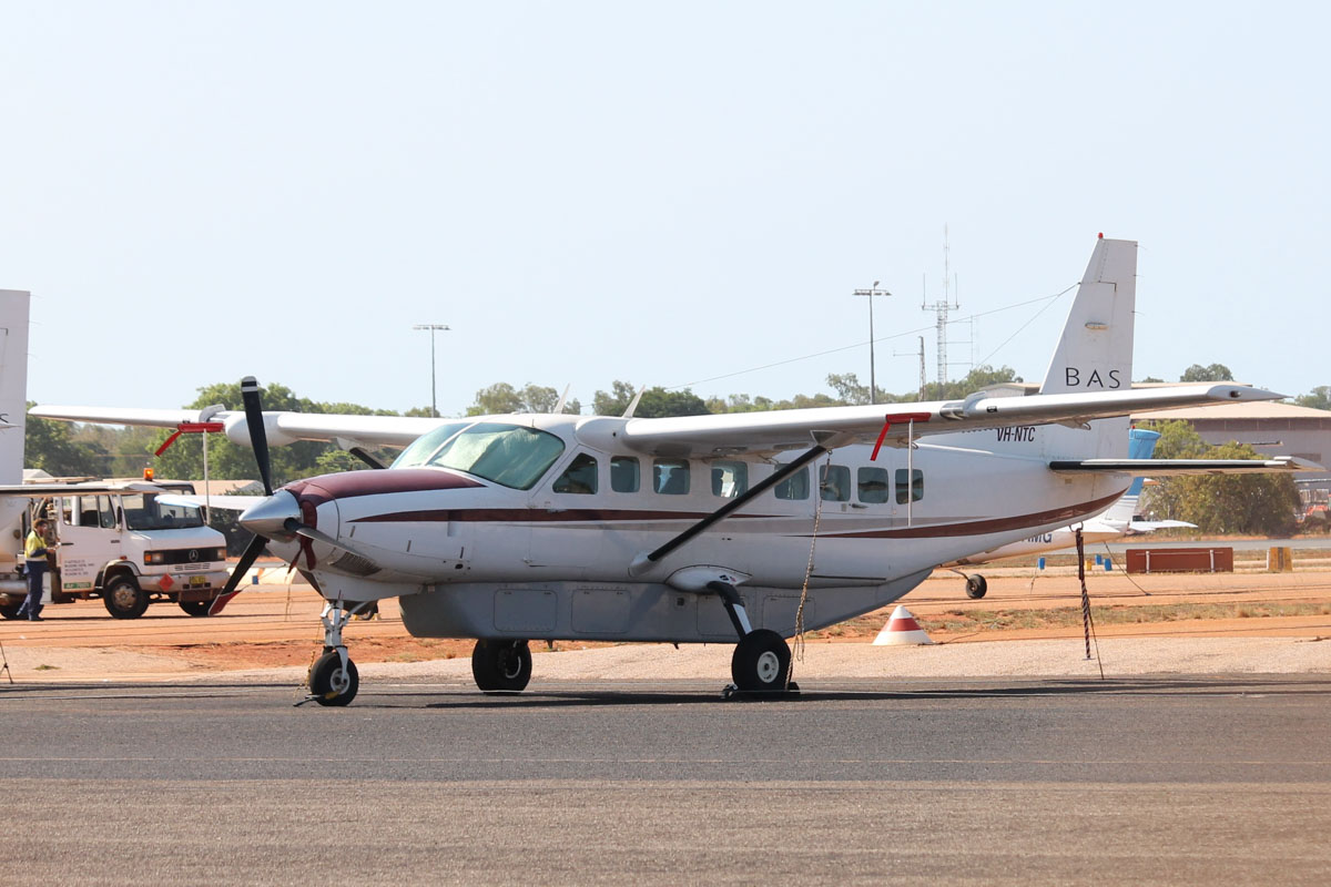 VH-NTC Cessna 208B Grand Caravan (MSN 208B0418) owned by Broome Air Services (BAS), at Broome Airport - 25 October 2015. Built in 1995, ex VH-DEX, N1211M. Photo © Jonathan Williams