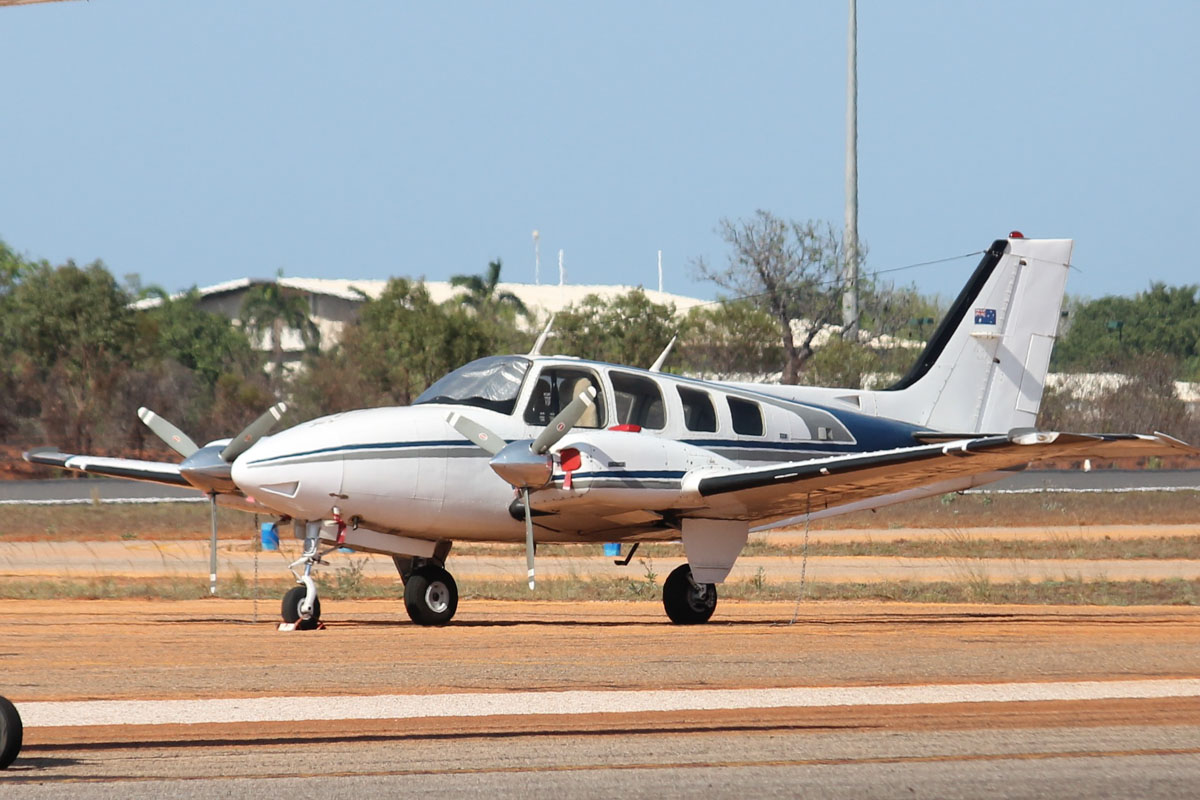 VH-SWT Beech 58 Baron (MSN TH-560) owned by Casair, at Broome Airport - 25 October 2015. Built in 1975, ex N9380S. Photo © Jonathan Williams
