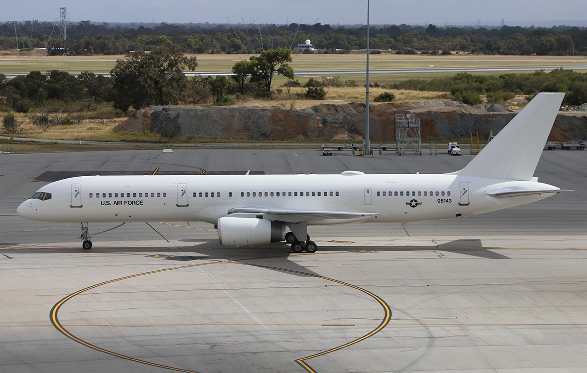 99-6143 Boeing C-32B (757) of United States Air-Force at Perth Airport – 31 October 2015.