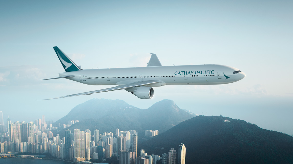 B-KPM Boeing 777-367ER (MSN 36159/835) of Cathay Pacific, cruising over Hong Kong, in the new livery revealed on 1 November 2015. Photo © Cathay Pacific