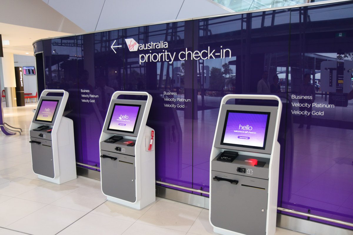 Terminal 1 Domestic on the first day of operations, Perth Airport - Sun 22 November 2015. Self check-in terminals for Business Class passengers. Photo © David Eyre