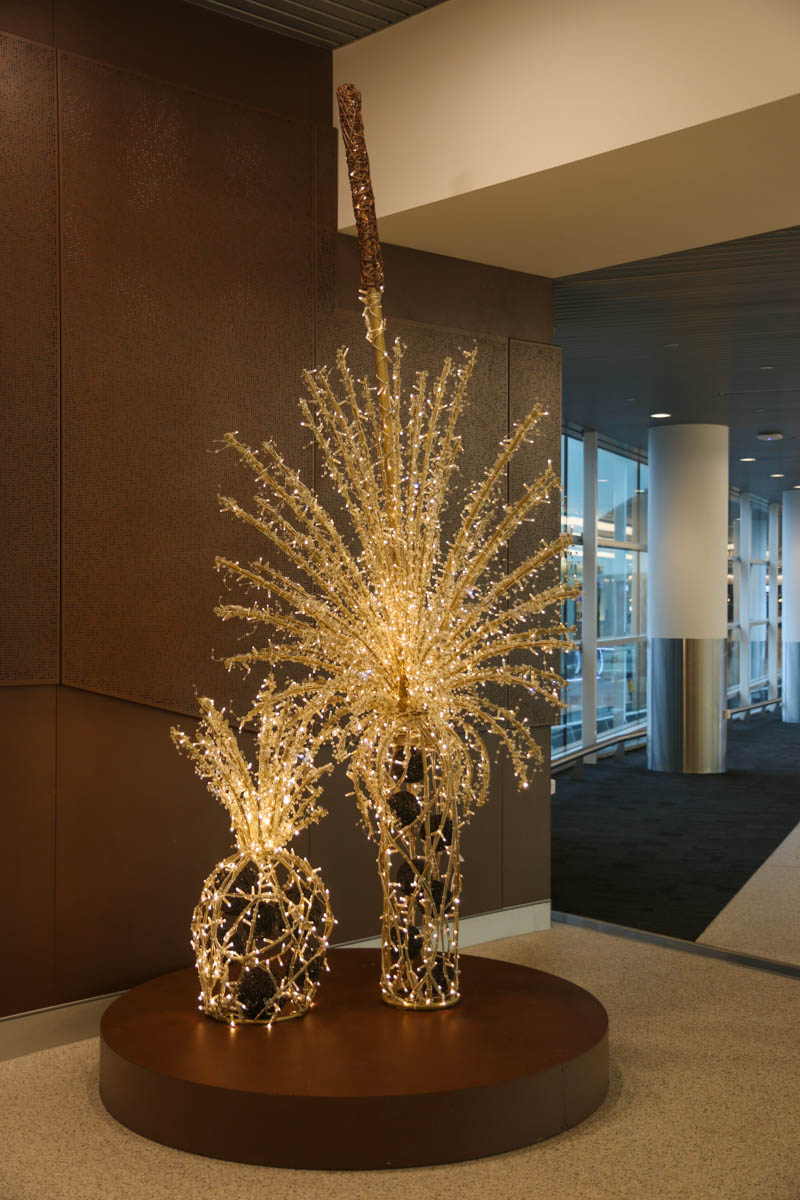 Terminal 1 Domestic on the first day of operations, Perth Airport - Sun 22 November 2015. Some Australian-themed Christmas decorations just before the travelators to the Departure Lounge. Photo © David Eyre