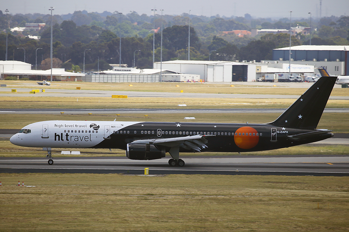 G-ZAPX Boeing 757-256 (MSN 29309) of Titan Airways at Perth Airport – 24 Nov 2015.