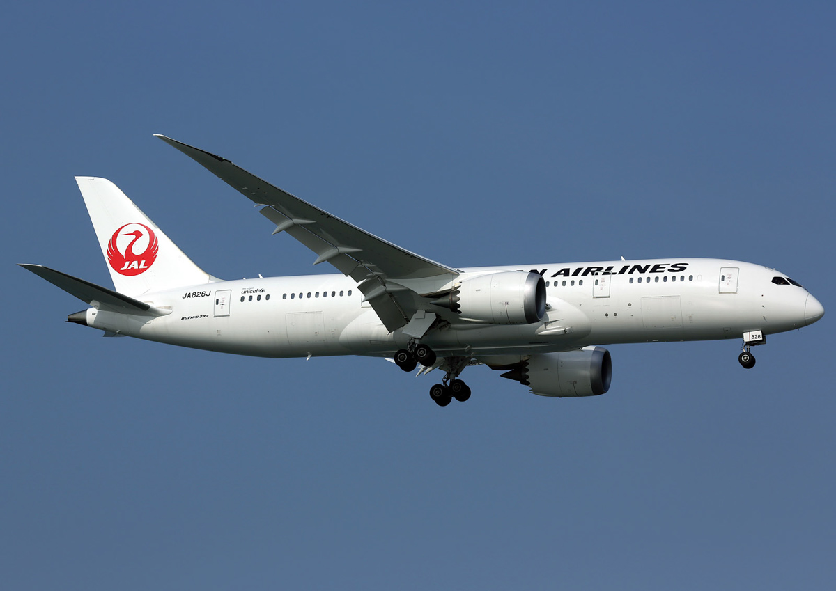 JA826J Boeing 787-8 Dreamliner (MSN 34836/37) of Japan Airlines at Singapore - 17 June 2013. Photo © Ian Moy