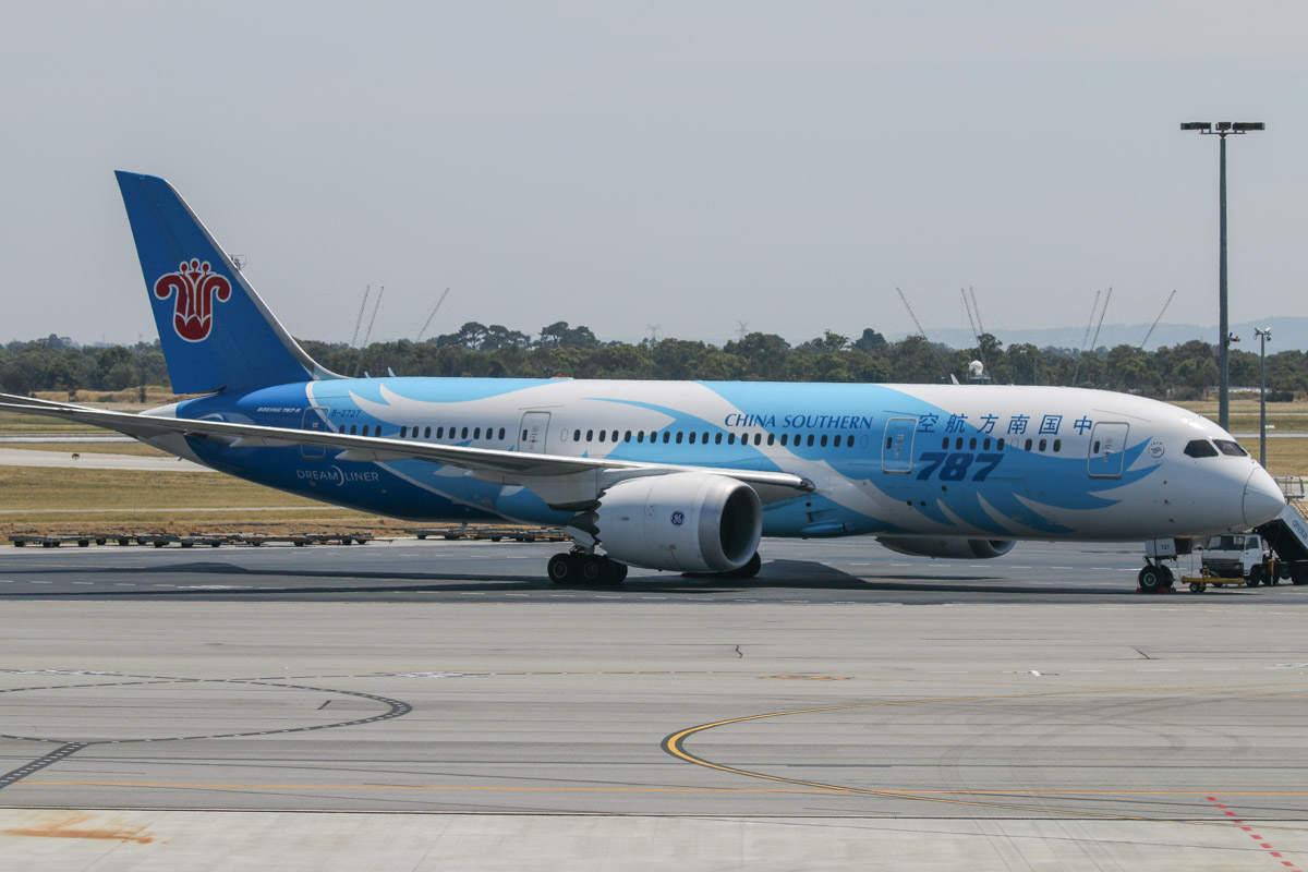 B-2727 Boeing 787-8 Dreamliner (MSN 34925/43) of China Southern, parked at Bay 163, seen from food court near Gate 50/Bay 150, Terminal 1 Domestic, Perth Airport - Sun 22 November 2015. This shot was taken at 10:53am, and is somewhat backlit, so it would have been better in the afternoon. Photo © David Eyre