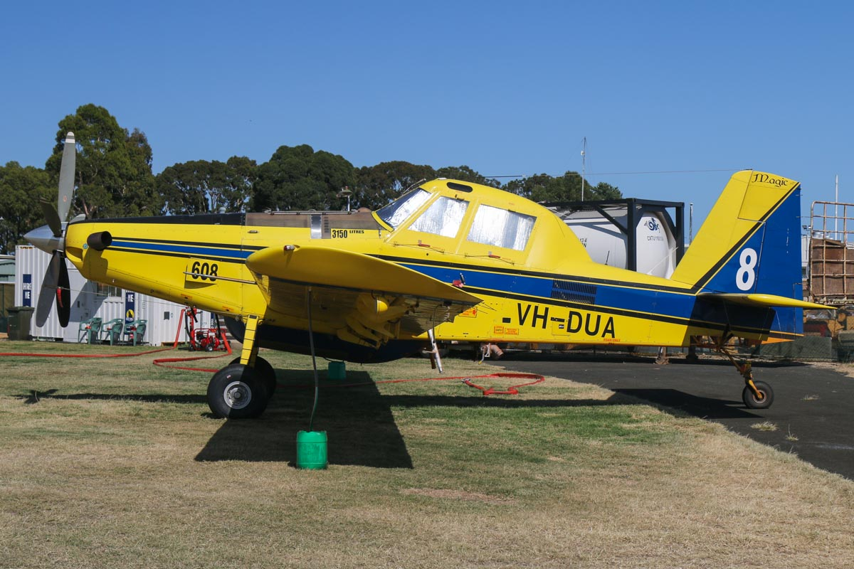 VH-DUA / BOMBER 608 Air Tractor AT802 (MSN 802-0366) owned by Dunn Aviation, named 'Magic', at Jandakot Airport – Sat 28 November 2015. Built 2010, ex N8521E, EC-LHZ. Operated for the Western Australian Government on fire fighting duties during the summer months. Photo © David Eyre