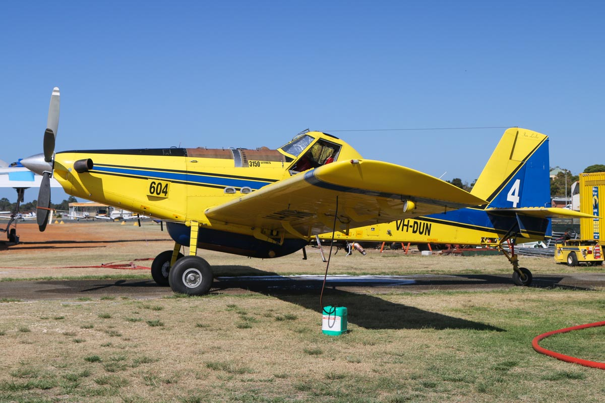 VH-DUN / BOMBER 604 Air Tractor AT-802A (MSN 802A-0328), named 'Ian Leslie', owned by Dunn Aviation, at Jandakot Airport – Sat 28 November 2015. On contract to the Western Australian Government during the summer months as a fire fighting aircraft. Built 2010, ex N8521E. Photo © David Eyre