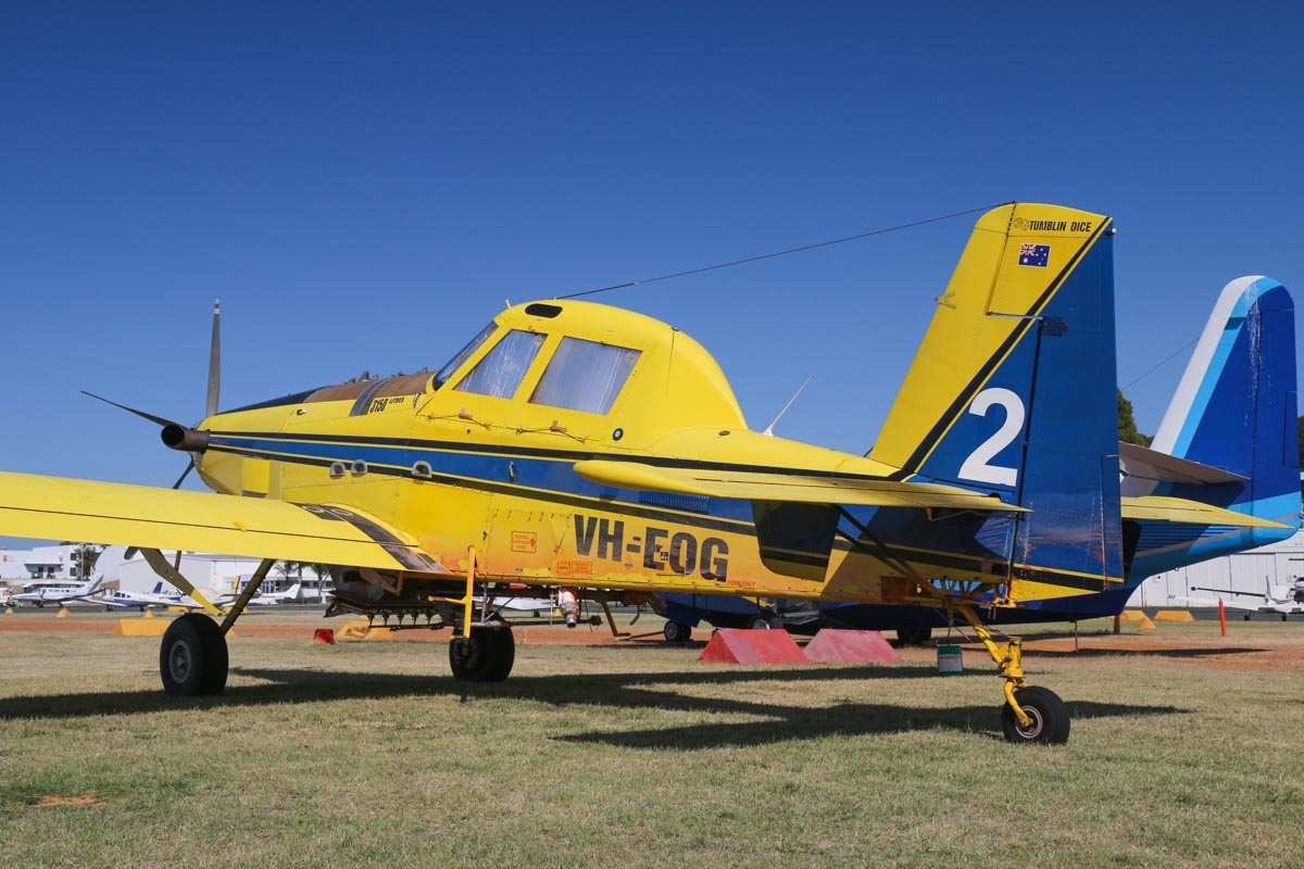 VH-EOG / BOMBER 602 Air Tractor AT-802 (MSN 802-0185), named 'Tumblin' Dice', owned by Dunn Aviation (Mal Dunn Pty Ltd), at Jandakot Airport - Sat 28 November 2015. Under contract to the Western Australian Government on fire fighting duties - seems to stained with fire retardant foam. Built in 2004, ex N8520L. Photo © David Eyre