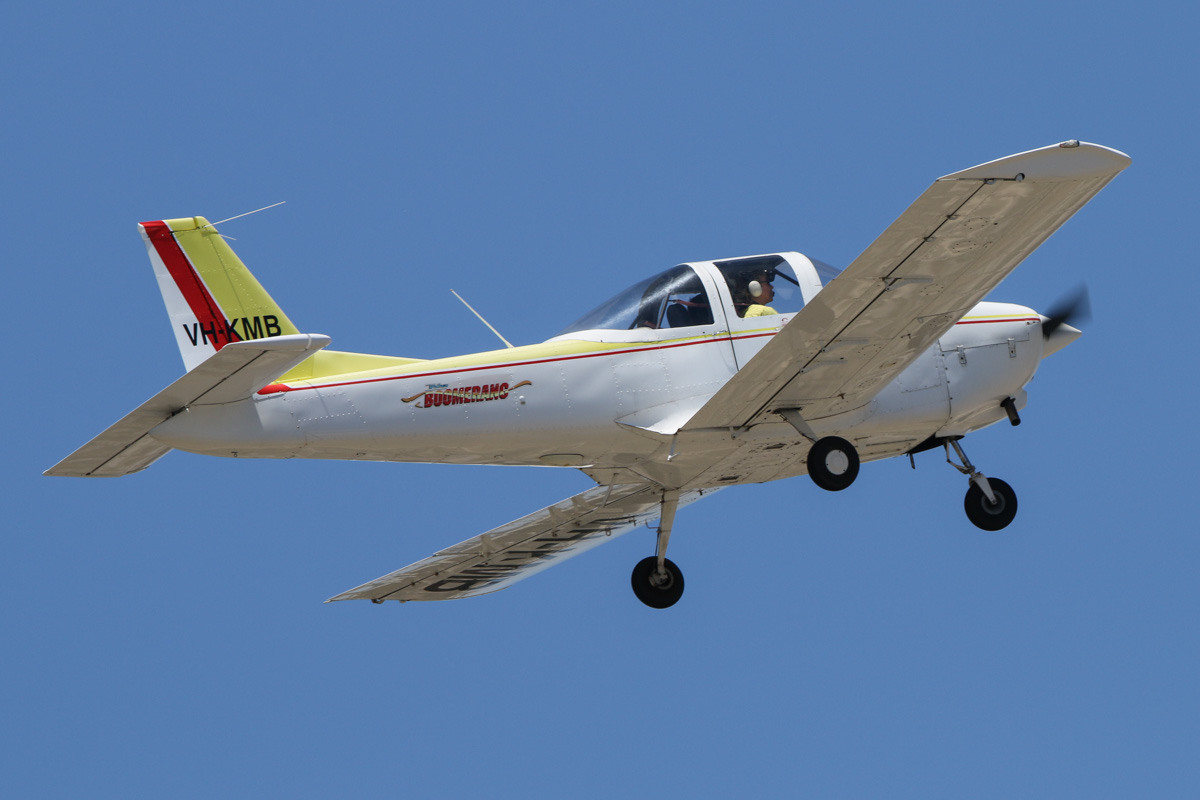 VH-KMB Dean-Wilson DW200 Whitney Boomerang (MSN B0003) of Minovation Pty Ltd at Jandakot Airport - Sat 28 November 2015. Minovation was a launch customer for this Australian-designed trainer, which was based on the Piper Tomahawk. The aircraft were produced by Dean Wilson Aviation at Kingaroy Airport, Queensland, between 2007 and 2011, when the company was placed into receivership. VH-KMB was built in 2007 and the first Boomerang delivered, on 2 January 2008. The registration KMB stands for Karl and Min's Boomerang - the owners of Minovation flying school. Photo taken with a Canon EOS 70D, using a Canon EF600mm f/4L IS II USM lens, from the roof of the Royal Aero Club of Western Australia. Photo © David Eyre