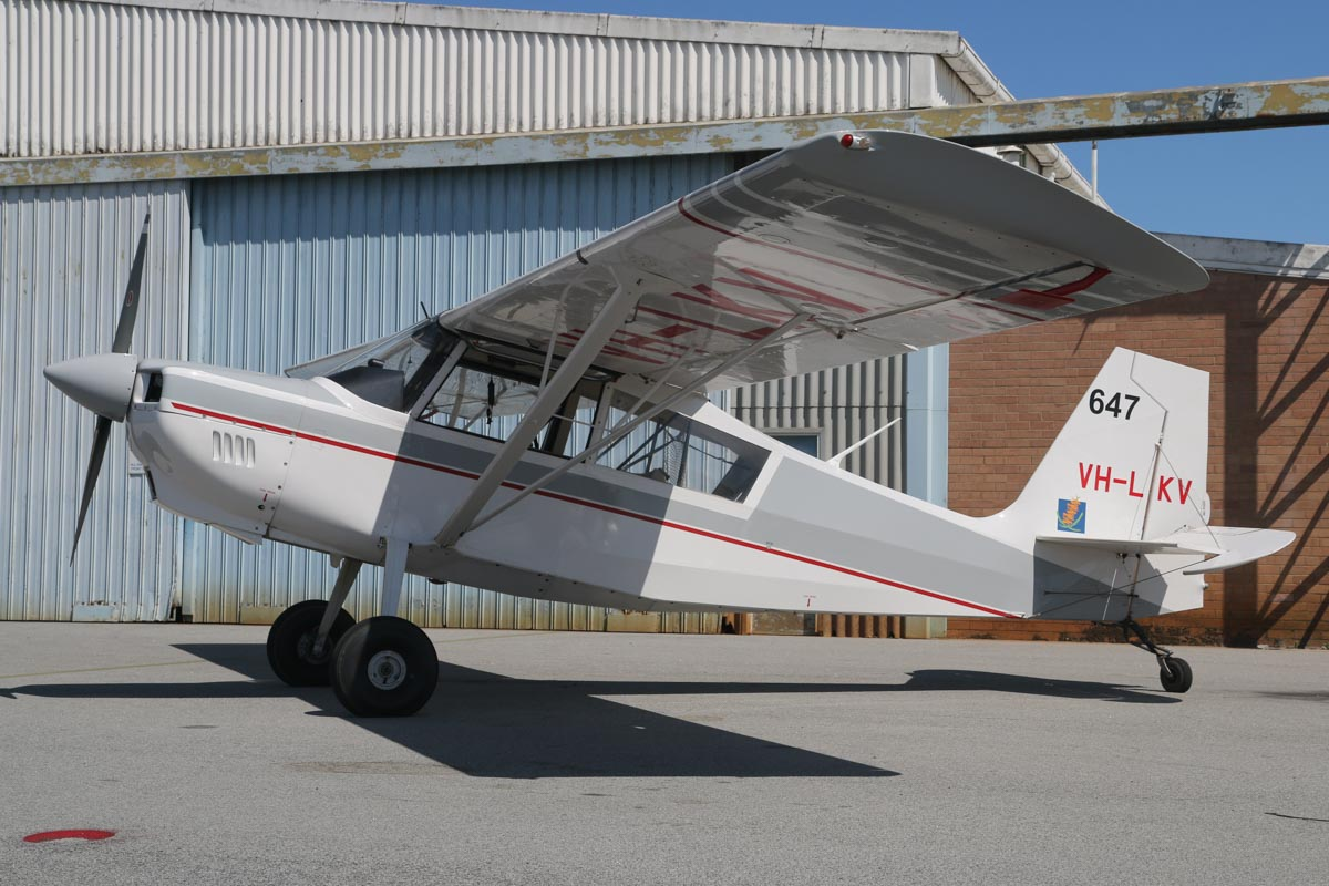 VH-LKV / SPOTTER 647 American Champion 8GCBC Scout (MSN 529-2010) owned by Department of Parks and Wildlife, at Jandakot Airport – Sat 28 November 2015. Built in 2010. Used as fire spotter aircraft for forest patrols in the south-west of WA. They also supervise waterbombing operations in the south-west, relaying information to fire controllers regarding the fire's behaviour to assist in firefighting and ensuring the safety of fire crews. Photo © David Eyre
