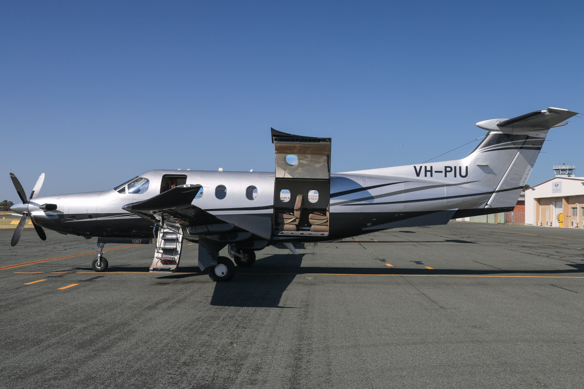 VH-PIU Pilatus PC-12/47E (MSN 1007) owned by Melbourne VIP Charter Pty Ltd, at Jandakot Airport - Sat 28 November 2015. Built in 2008, ex VH-PIL, HB-FQY. This aircraft arrived from Moorabbin, Victoria via Ceduna, South Australia the previous day. It flew a couple of flights to Margaret River and back then flew back to Moorabbin via Ceduna on 6 December 2015. Photo © David Eyre