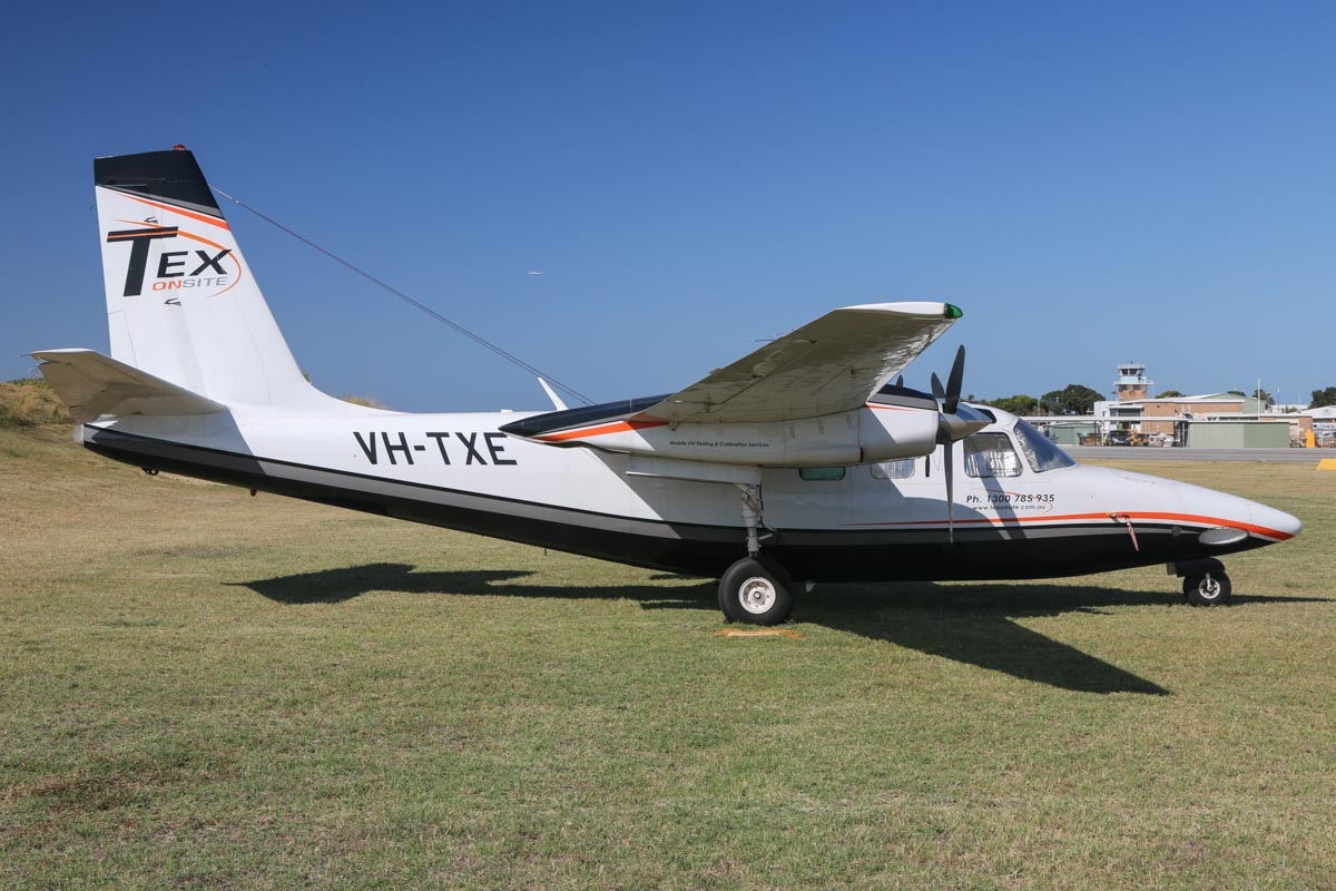 VH-TXE Rockwell Shrike Commander 500U (MSN 1637-2) owned by Tex Onsite Pty Ltd, at Jandakot Airport – Sat 28 November 2015. Built in 1966, ex N432QA, J8-VAY, N6531V. One of three Shrike Commanders operated by Tex Onsite, the others are VH-TQA and TZS. Tex Onsite provides an air service for high voltage testing and instrument calibration – their technicians fly directly to remote sites and islands, catering for mining and industry in areas not easily accessible by road vehicles. Photo © David Eyre
