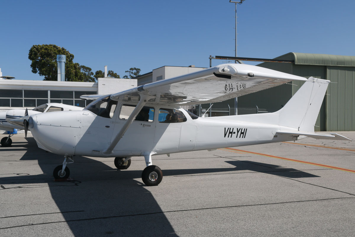 VH-YHI Cessna 172S Skyhawk SP (MSN 172S10751) owned by Airflite Pty Ltd, at Jandakot Airport - Sat 28 November 2015. This aircraft was registered on 8 April 2015, but the registration has only recently been painted on the aircraft. Formerly registered and owned in Malaysia by Gulf Golden International Flying College (GGIFA) of Bintulu, Malaysia. Built in 2008, ex 9M-GAI, N6280B. Photo © David Eyre