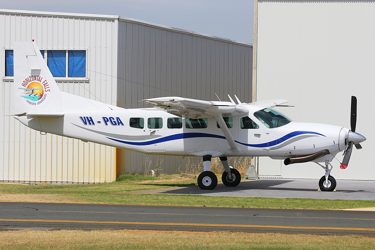 VH-PGA Cessna 208 Caravan (MSN 20800312) owned by West Coast Seaplanes, of Broome, WA, at Jandakot Airport – 3 December 2015.