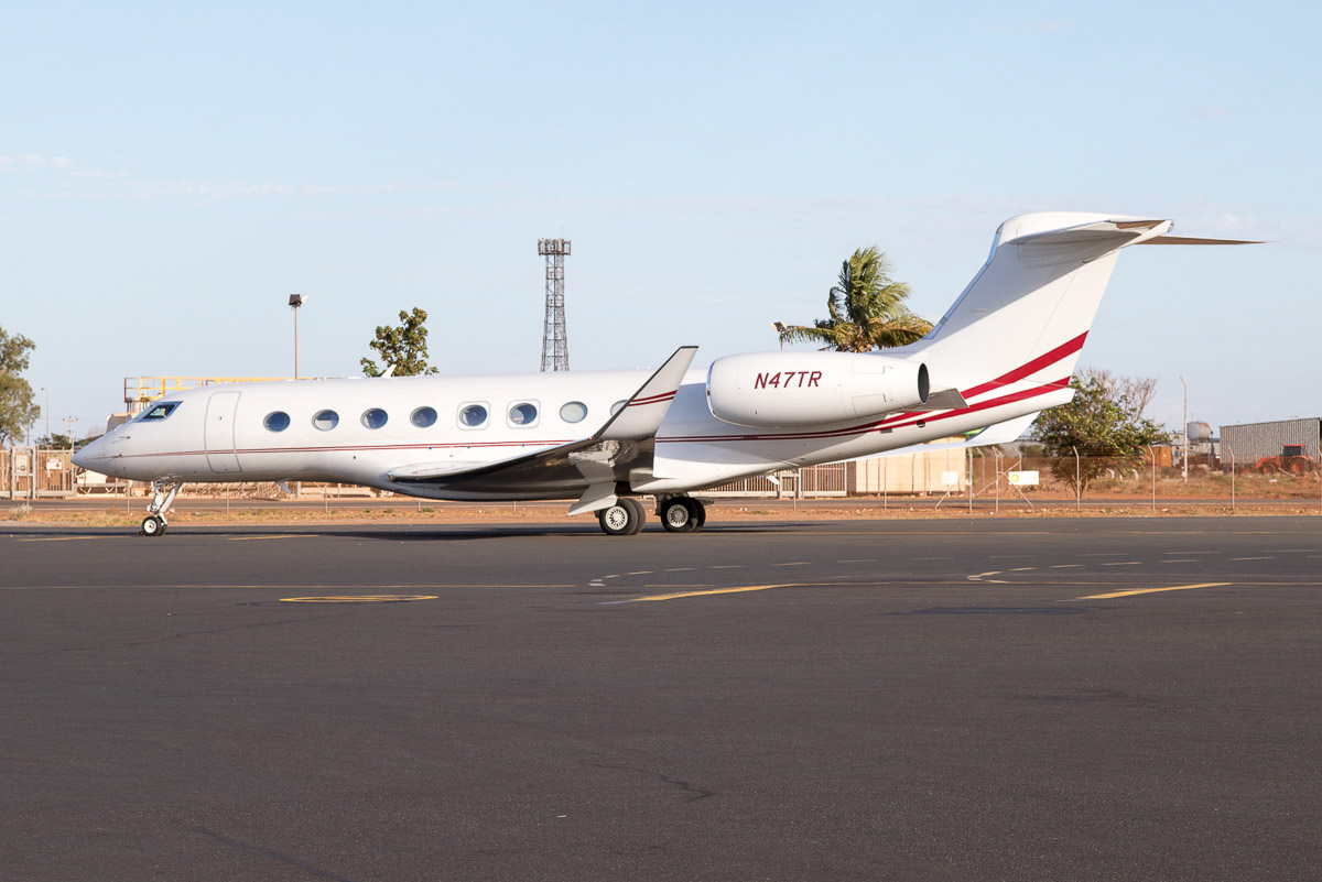 N47TR Gulfstream G650 (MSN 6101) operated by AVWest Aviation (owned by Bank of Utah (Trustee)), at Port Hedland Airport – Wed 9 December 2015. The aircraft is reported to be used by WA billionaire Gina Rinehart. The first ore from her $10 billion Roy Hill iron ore mine sailed from Port Hedland the day after this photo. Photo © Jim Woodrow