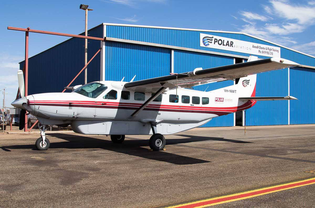 VH-NWT Cessna 208B Grand Caravan (MSN 208B0733) of Polar Aviation, at Port Hedland Airport - Wed 6 December 2015. Built in 1999, ex N1269N, N5109W. Polar Aviation is an air charter and flight training company based at Port Hedland. Photo © Jim Woodrow