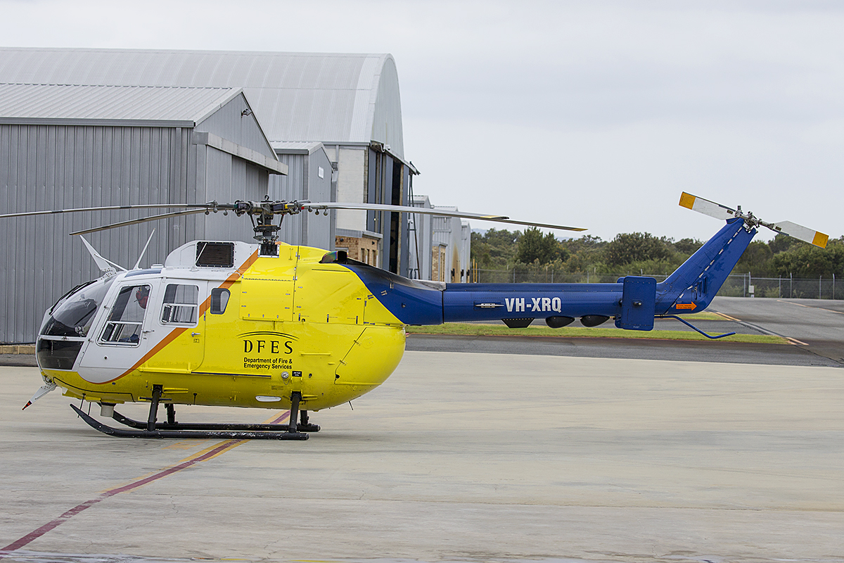 VH-XRQ Eurocopter Canada Ltd (MBB) BO105LS A-3 (MSN 2016) of Heliwest at Jandakot Airport – 10 Jan 2016.
