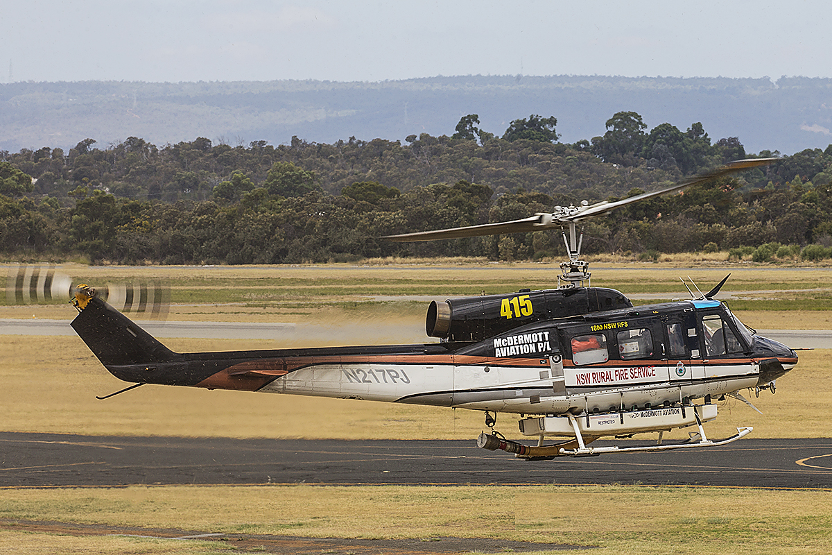 N217PJ Bell 214B1 (MSN 28032) of McDermott Aviation Pty Ltd at Jandakot Airport – 11 Jan @016.