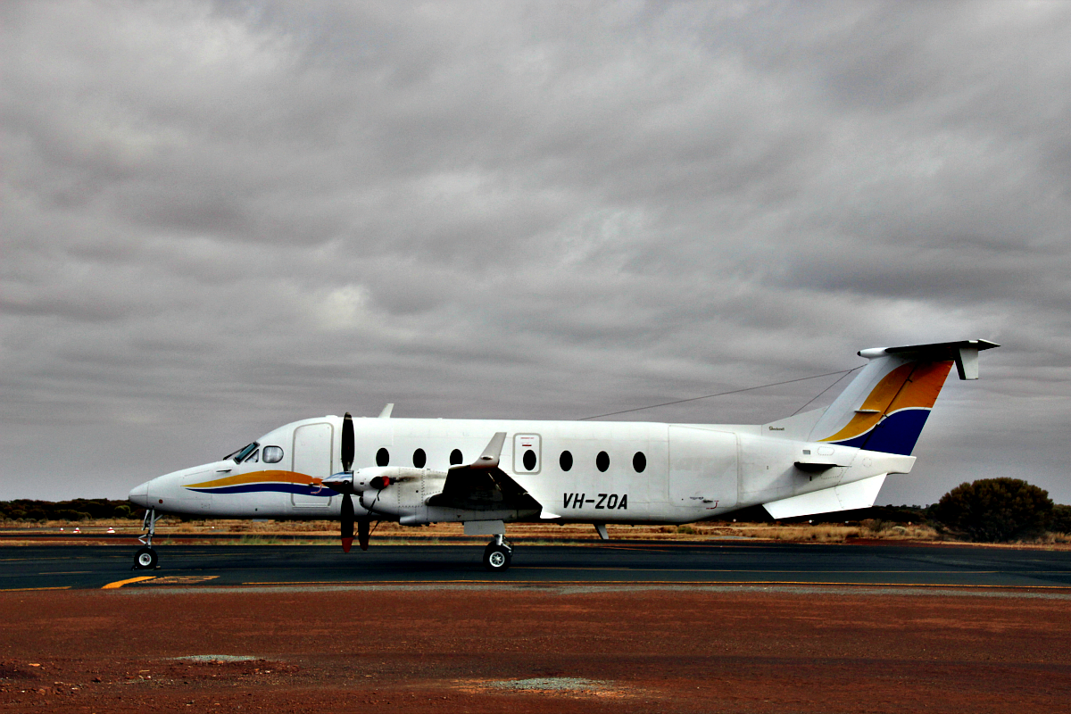 VH-ZOA Beech 1900D (MSN UE-85) of Ad Astral at Meekatharra Airport – 19 Jan 2016.