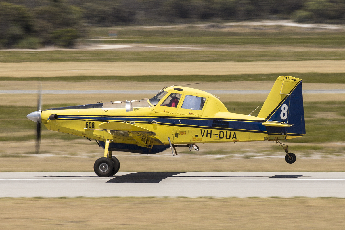 "VH-DUA / BOMBER 608 Air Tractor AT802 (MSN 802-0366) owned by Dunn Aviation, named ""Magic"", operated for the WA Government on fire fighting duties, at Jandakot Airport – 22 Jan 2016."