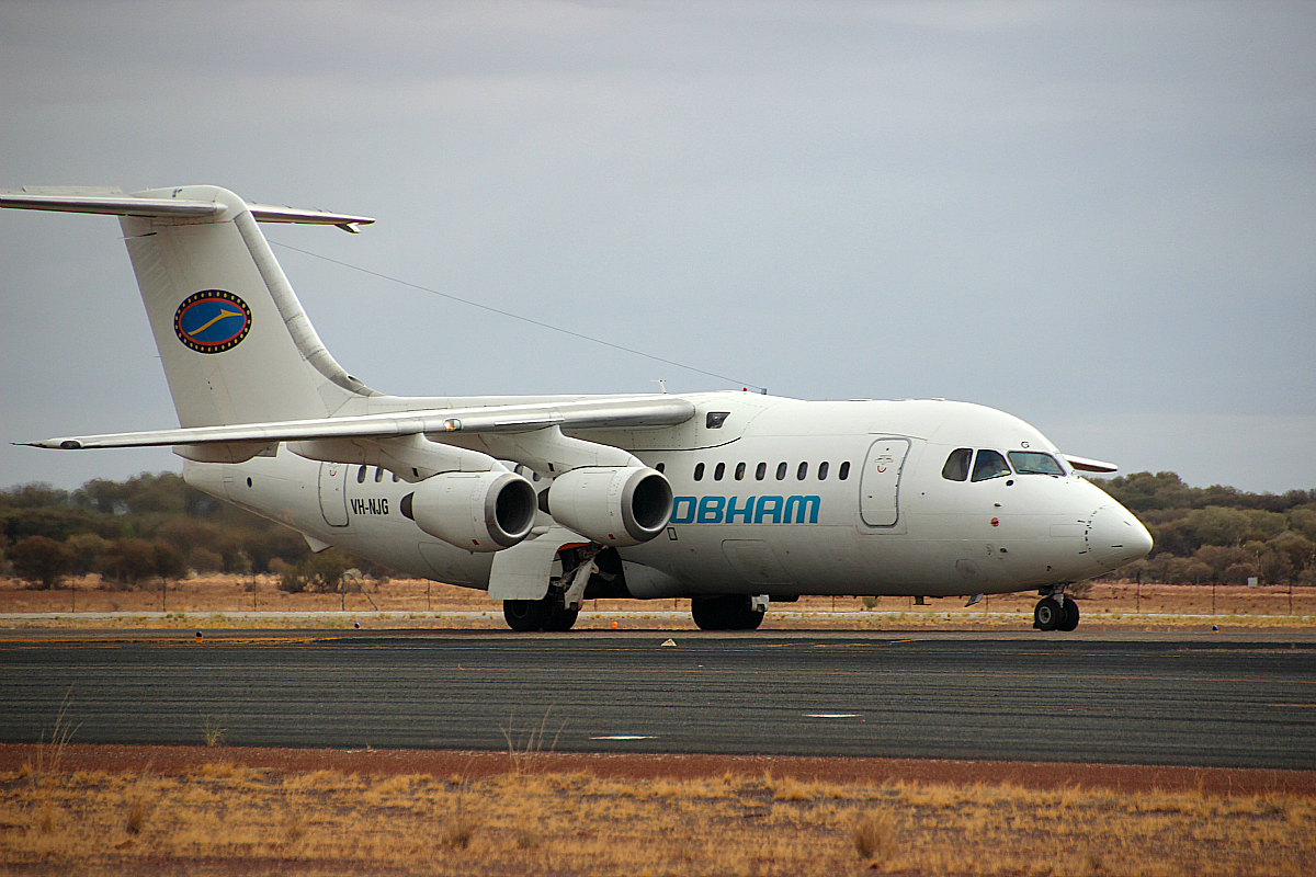 VH-NJG British Aerospace 146-200 (MSN E2170) of Cobham Aviation at Meekatharra Airport – 19 Jan 2016.