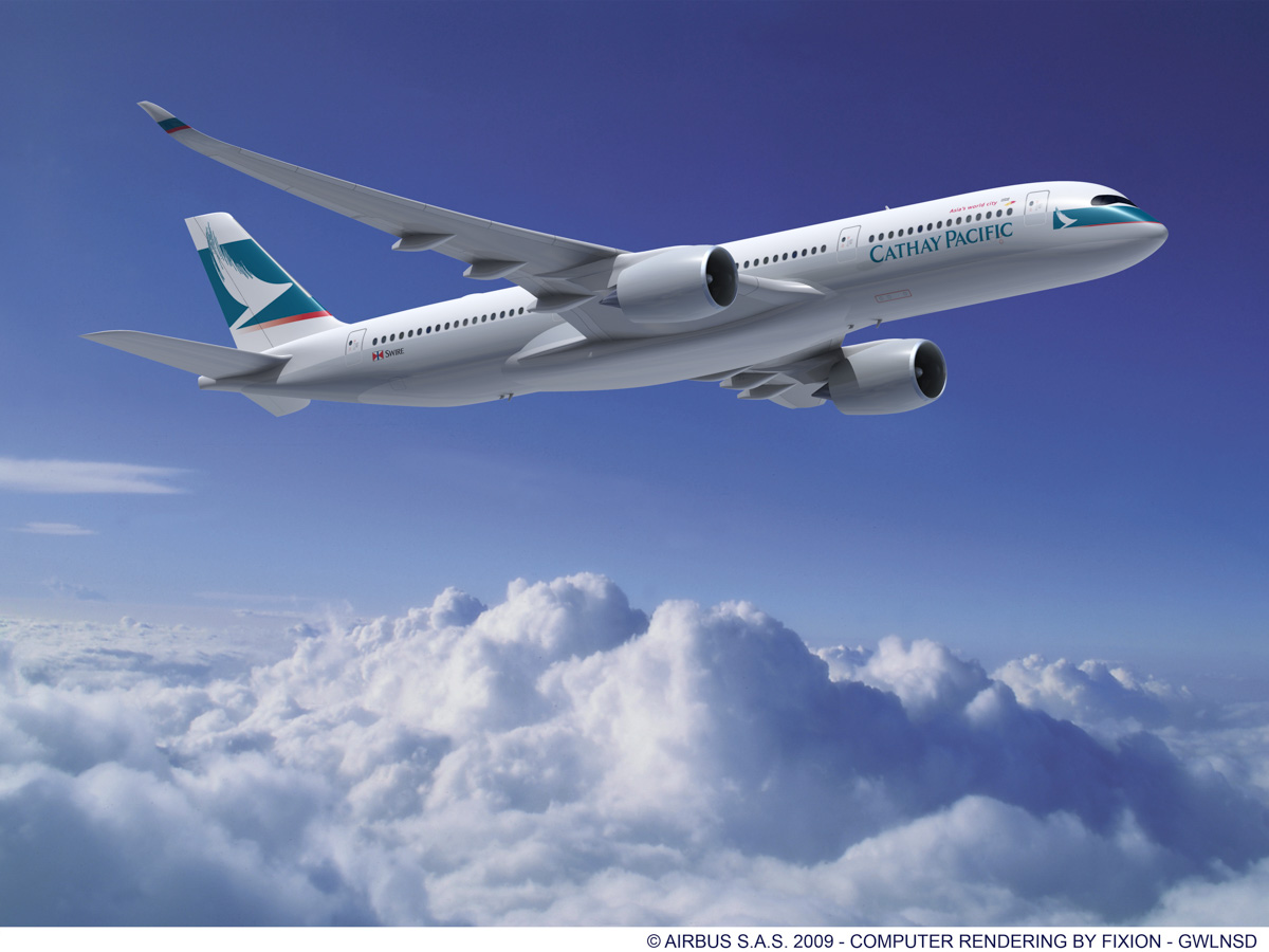 Computer rendering of an Airbus A350-900 in Cathay Pacific's old livery. © Airbus