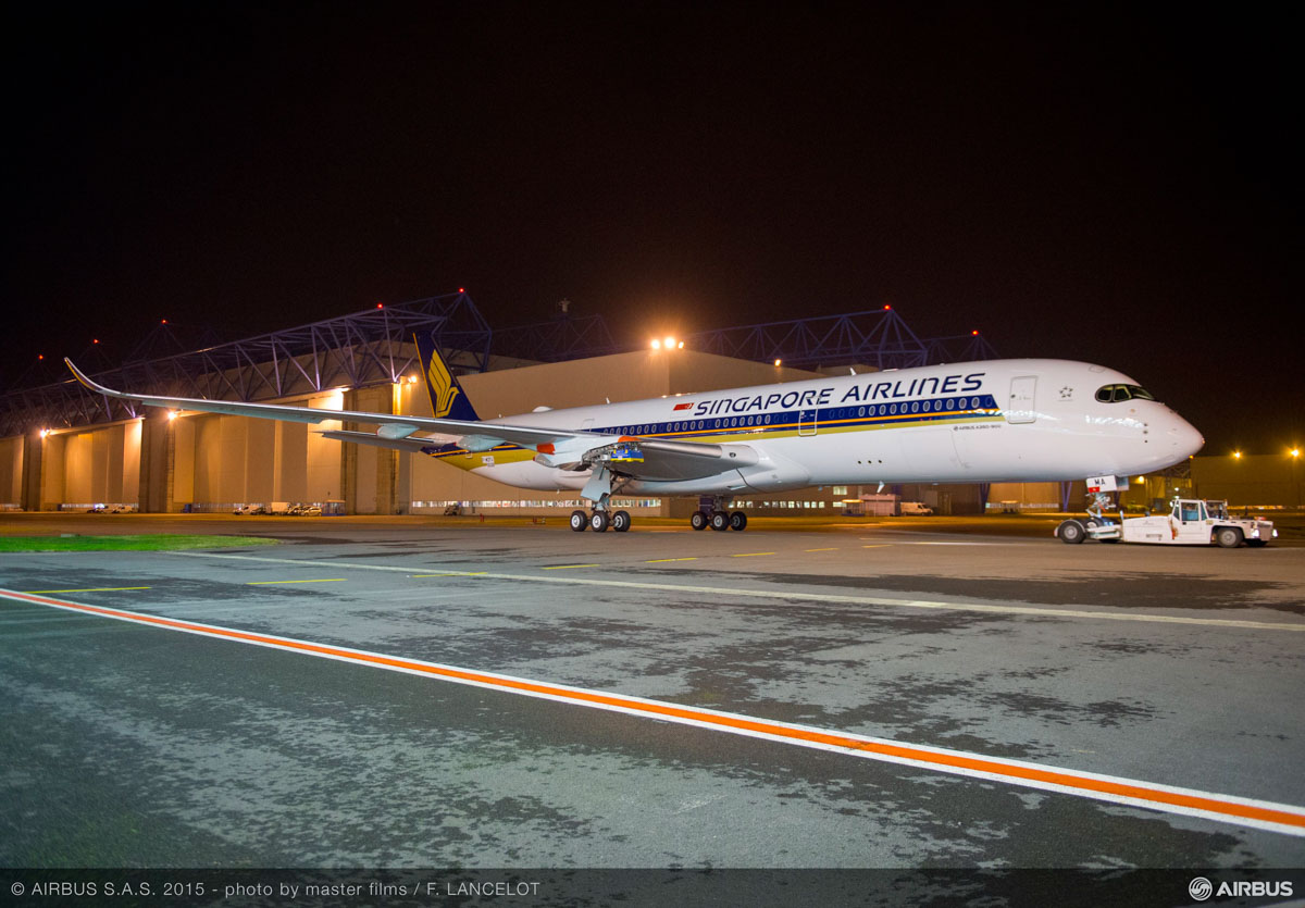 F-WZFU (to be registered 9V-SMA) Airbus A350-941 (MSN 026) of Singapore Airlines, at Toulouse, France on 14 October 2015. Seen after being rolled out of the paintshop, prior to engines being fitted. Photo © Airbus