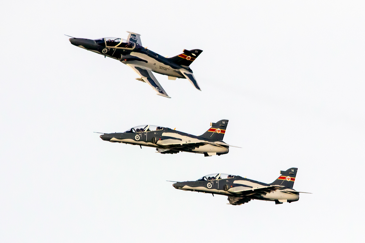 BAE Systems Hawk 127s: A27-10 (MSN DT10); A27-16 (MSN DT16) and A27-30 (MSN DT30) of 79 Squadron, RAAF, over the Swan River, Perth - Tue 26 January 2016 - Australia Day City of Perth Air Show 2016. A27-10 was the first Australian-built Hawk to fly, and made its first flight on 17 May 2000. It previously wore an experimental dark grey scheme, to assess whether it provided increased visibility in flight. Photo © Daniel Kitlar