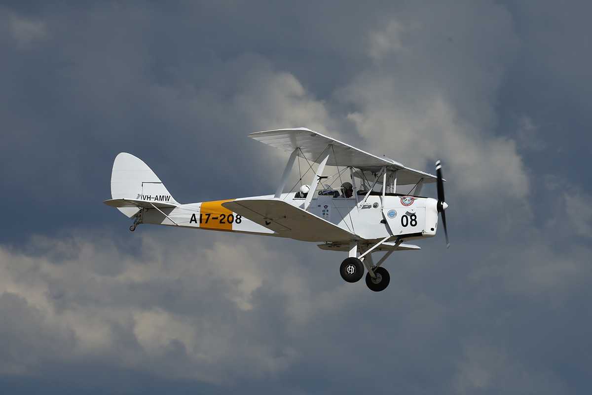 VH-AMW De Havilland DH-82A Tiger Moth (MSN A17-208) owned by Shine Air Pty Ltd and piloted by Chris Shine.