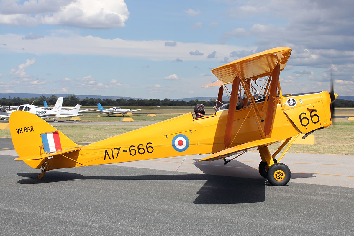 VH-BAR_A17-666 De Havilland DH-82A Tiger Moth (MSN DHA816/T342) owned and piloted by Kevin Bailey taxues out to participate in the Australia Day City of Perth Air Show