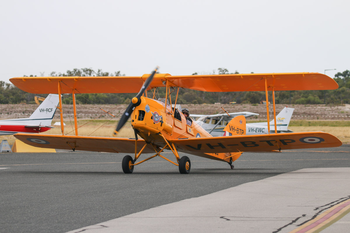 VH-BTP / A17-744 De Havilland DH-82A Tiger Moth (MSN DHA1075/T315) owned by Clark Rees, at Jandakot Airport - Tue 26 January 2016. Clark Rees, taxying his aircraft to park in front of the Royal Aero Club before we flew in the 'Beautiful Biplanes' formation at the Australia Day Air Show over Perth. Photo © David Eyre