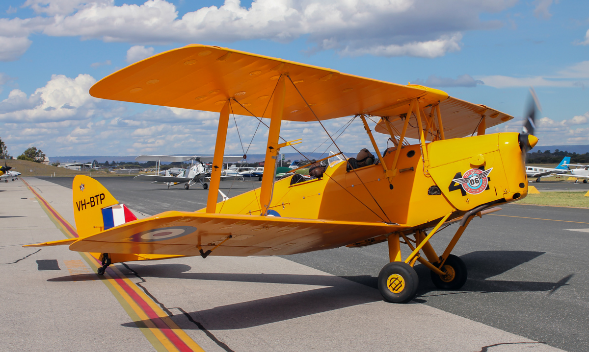 VH-BTP / A17-744 De Havilland DH-82A Tiger Moth (MSN DHA1075/T315) flown by Clark Rees, with David Eyre of AAWA in the front cockpit, at Jandakot Airport - Tue 26 January 2016 - Australia Day Air Show. Taxying out for departure at 3:30pm, as part of the 'Beautiful Biplanes' formation. Photo © Scott Morgan