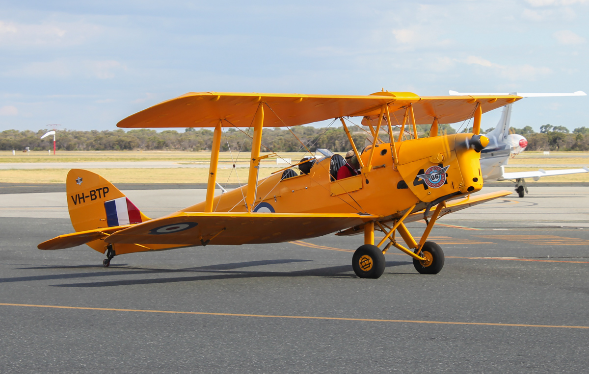 VH-BTP / A17-744 De Havilland DH-82A Tiger Moth (MSN DHA1075/T315) flown by Clark Rees, with David Eyre of AAWA in the front cockpit, at Jandakot Airport - Tue 26 January 2016 - Australia Day Air Show. Taxying in at 4:22pm, after flying as part of the 'Beautiful Biplanes' formation for the Australia Day Air Show over Perth. Photo © Scott Morgan