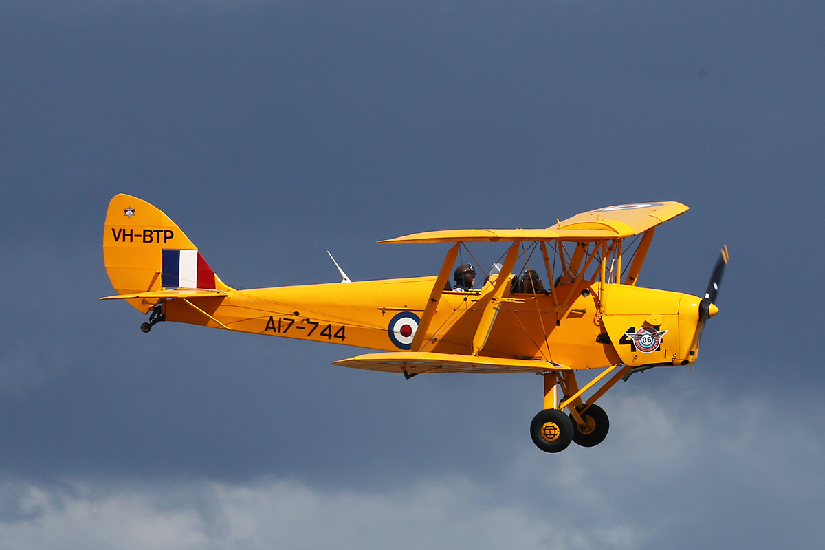 VH-BTP / A17-744 De Havilland DH-82A Tiger Moth (MSN DHA1075/T315) piloted and owned by Clark Rees..