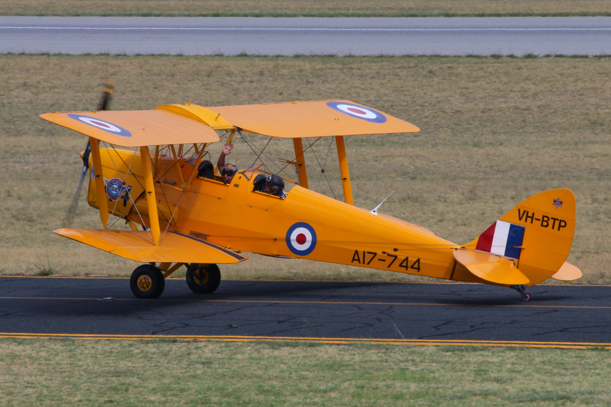VH-BTP / A17-744 De Havilland DH-82A Tiger Moth (MSN DHA1075/T315) flown by Clark Rees, with David Eyre of AAWA in the front cockpit, at Jandakot Airport - Tue 26 January 2016 - Australia Day Air Show. Taxying out for departure at 3:30pm, as part of the 'Beautiful Biplanes' formation. Photo © Clyde Lannan