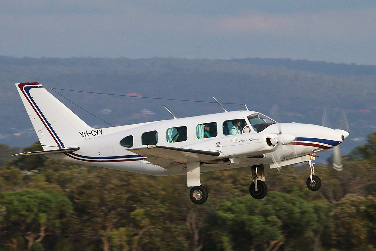 VH-CYY Piper PA-31-310 Navajo B (MSN 31-7401241) owned by Air Australia International, piloted by Megan Gray at Jandakot Airport – 26 Jan 2016.