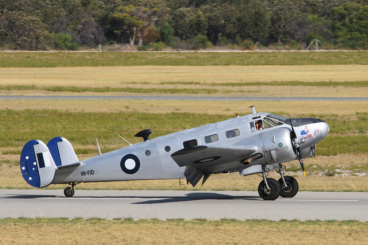"VH-FID Beech D18S (cn A-458) piloted by Stu Adamson, owned by Adamson Holdings Pty Ltd, Geraldton, WA, named ""Dinky Di"", at Jandakot Airport – 26 January 2016."