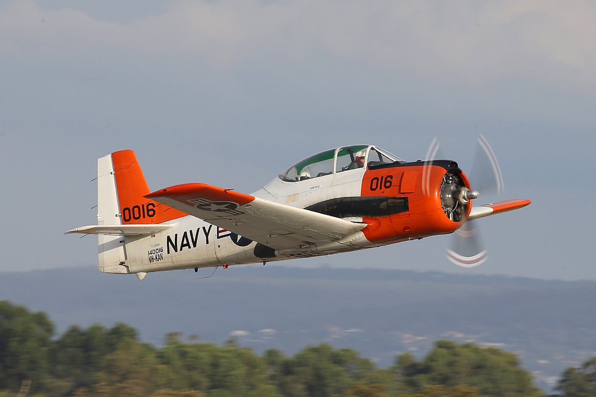VH-KAN North American T-28B Trojan taking off the take part in the Australia Day 2016 Air Show.