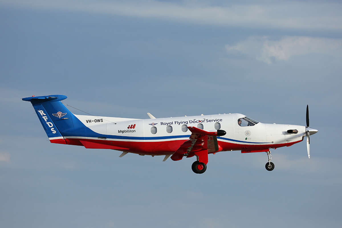 VH-OWS Pilatus PC-12/47E (MSN 1428) of Royal Flying Doctor Service at Jandakot Airport – 26 Jan 2016.