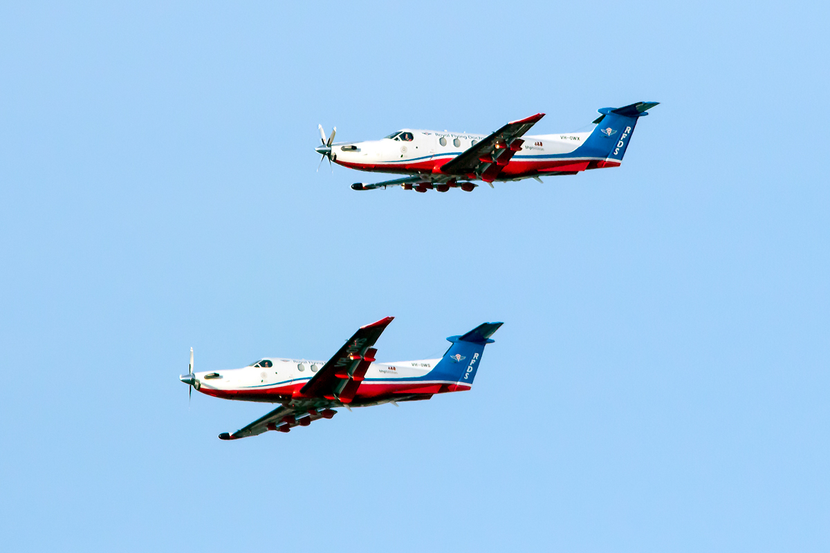 VH-OWX Pilatus PC-12/47E (MSN 1439) and VH-OWS Pilatus PC-12/47E (MSN 1428) of the Royal Flying Doctor Service (Western Operations), over the Swan River, Perth - Tue 26 January 2016 - Australia Day City of Perth Air Show 2016. Photo © Daniel Kitlar